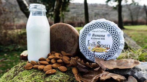 Banana and Almond Anti-bacterial Cleansing Natural Soap Bar (vegan)