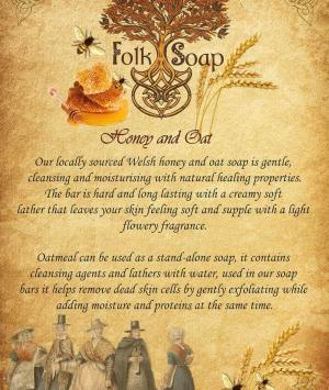 honey and oat folk soap bar