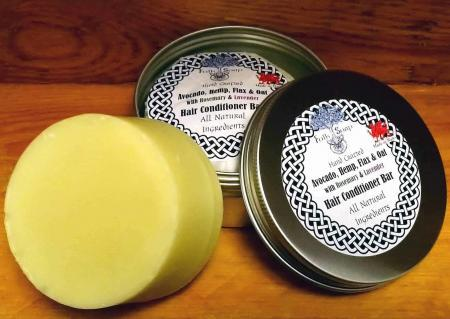 Solid Conditioner Bar supplied in reusable, sustainable, keep fresh aluminium tin
