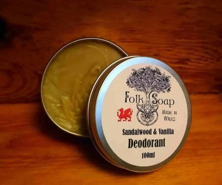 Natural Sandalwood and Vanilla Deodorant in aluminium tin