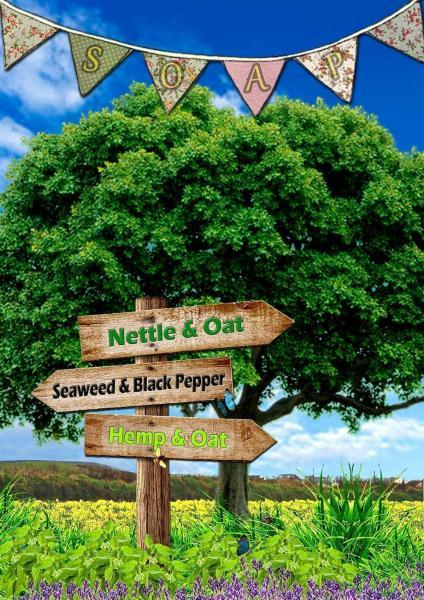 Trees and Daffodils poster, this way to hemp, nettle and seaweed soap sign