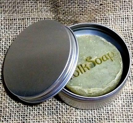 travel tin with nettle flax and oat soap